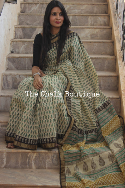 Beige with Green Maheshwari silk hand block printed saree. TCB-MH17-SB1