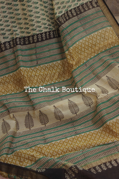 Off White with Green Maheshwari silk hand block printed saree.
