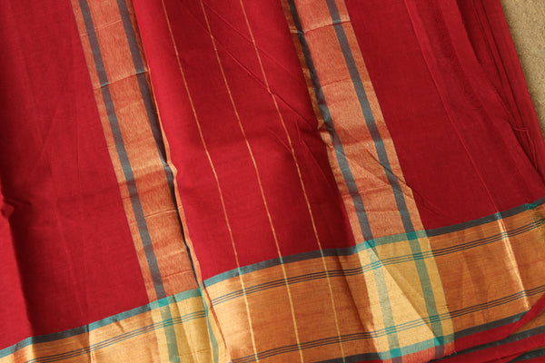 Maroon Pure Cotton Saree With Zari Border. VG-COTTON-11
