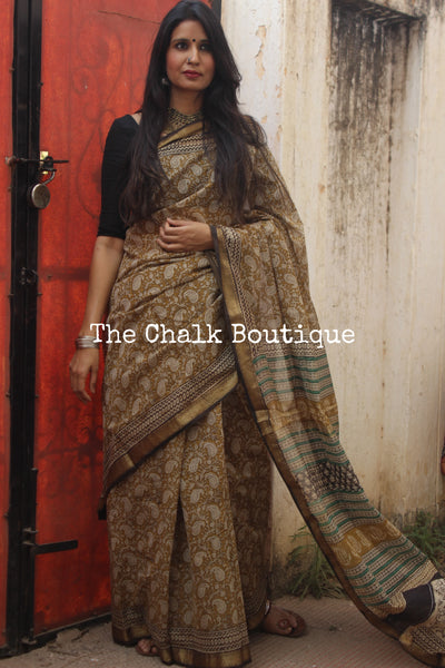 Olive Green Maheshwari silk hand block printed saree.