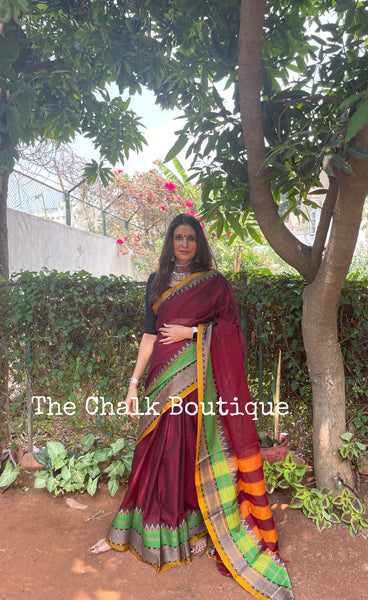 | Priyam| Maroon Soft Cotton Saree With Contrast Broad Temple Style Border.