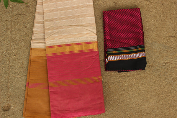 Biscuit Colour Pure Cotton Saree With Ganga Jamuna Border. RK-WHI-C24