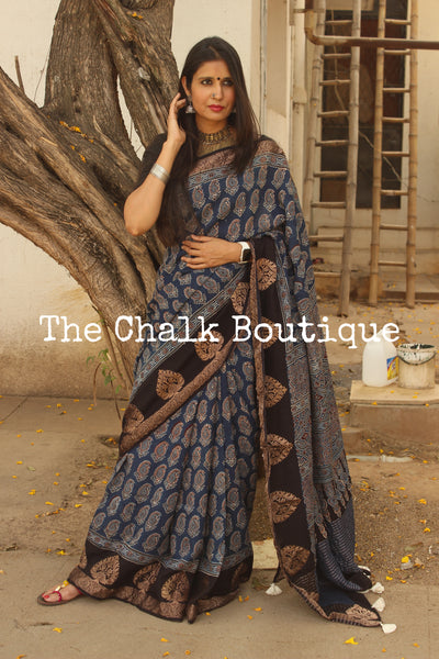 Indigo vegetable dyed Ajrakh Silk saree with zari border. KCH-SLK1-C