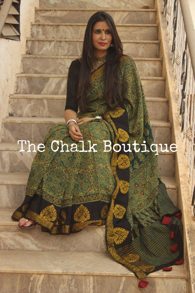 Green vegetable dyed Ajrakh Silk saree with zari border. KCH-SLK2-C