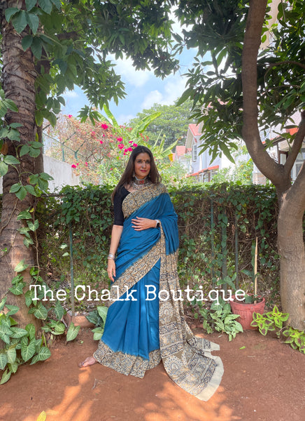 | Sanjana | Blue cotton kalamkari saree with contrast kalamkari border.