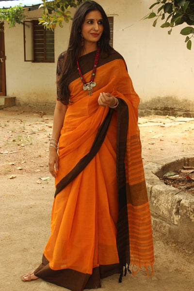 Mustard handloom mark cotton saree with contrast border and begumpuri woven pallu. TCB-MP4-BG-The Chalk Boutique