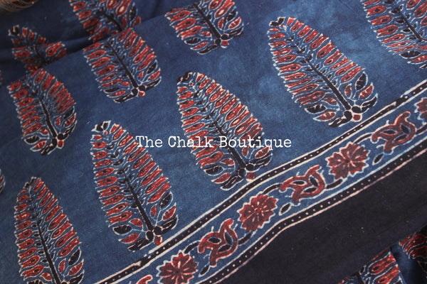 Indigo Handwoven vegetable dyed Ajrakh mul cotton saree .KCH-AJR3-CX