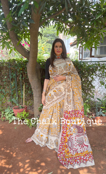 | Mustard Sauce | Floral kalamkari cotton saree with border.