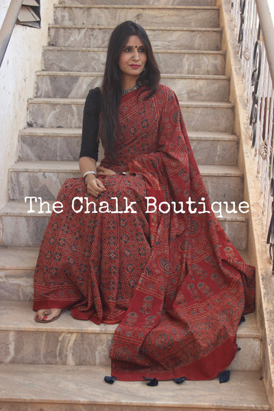Madder Handwoven vegetable dyed Ajrakh mul cotton saree .KCH-AJR6-CX