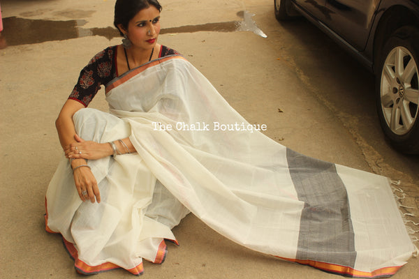 Ivory Handwoven Kacheta Cotton Saree With Zari Border CH-KA-1