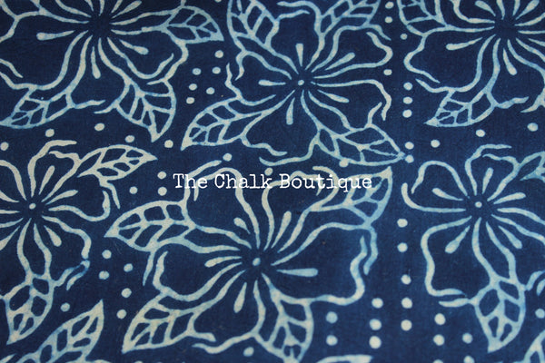 Indigo Handwoven vegetable dyed Ajrakh mul cotton saree .KCH-AJR8-CX