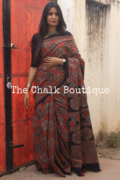 Madder Handwoven vegetable dyed Ajrakh mul cotton saree .KCH-AJR9-CX