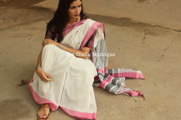 Ivory Stripe Handwoven Cotton Saree With Pink & Grey Buta CH-SB-5