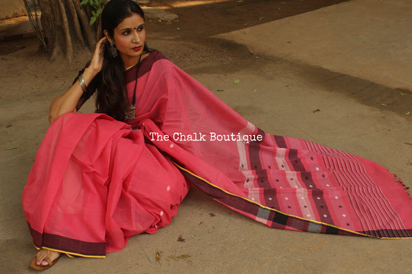 Pink Stripe Handwoven Cotton Saree With White & Black Buta CH-SB-3-The Chalk Boutique