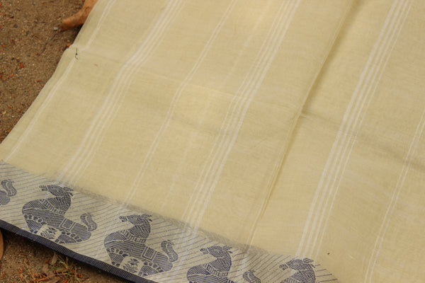 Handloom tant cotton saree with woven border and contrast blouse fabric. TCB-TNT3-JM