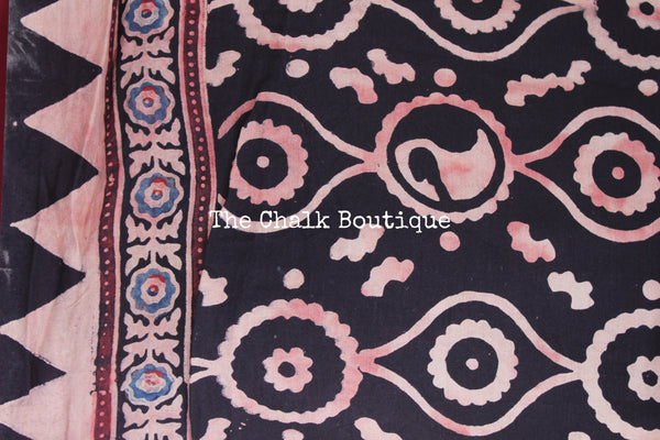 Black Cotton Silk hand block printed vegetable dyed Ajrakh saree.