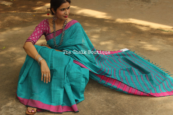 "Teal Colour Checks Handwoven ""Khaddar ""Cotton Saree With Pink Border CH-CSB-2"