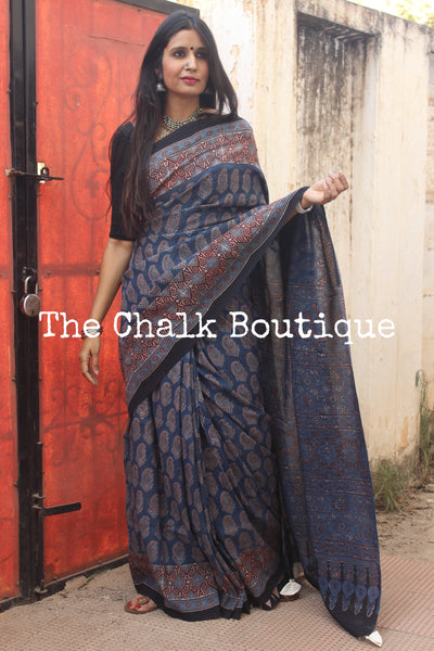 Indigo Cotton Silk hand block printed vegetable dyed Ajrakh saree.