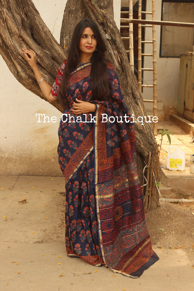 Indigo Hand Block printed Chanderi Saree. TCB-CH1-RB5