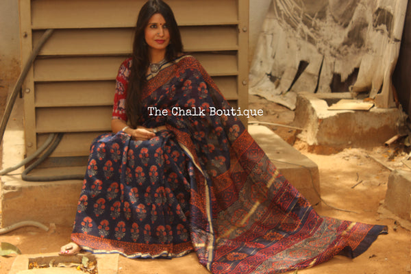 | PHOOL | Indigo Hand Block printed Chanderi Saree.