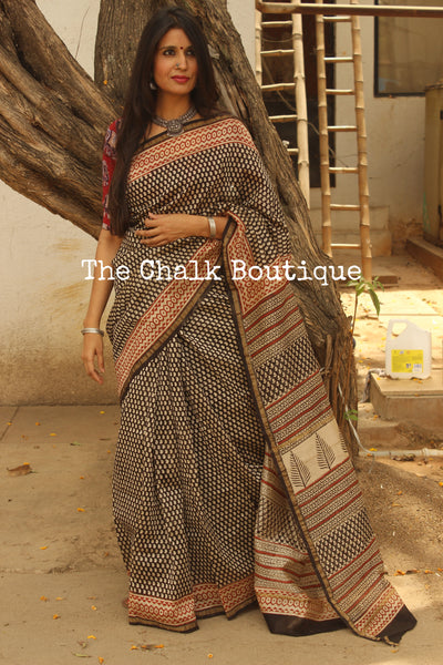 Small kairi booti Hand Block printed Chanderi Saree. TCB-CH3-RB5