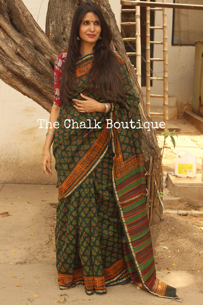 Green booti Hand Block printed Chanderi Saree.