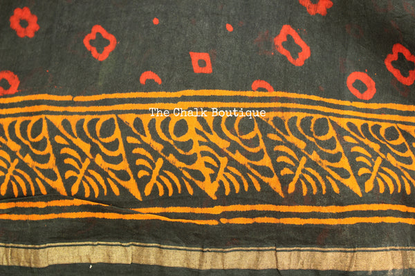 Green booti Hand Block printed Chanderi Saree. TCB-CH4-RB5