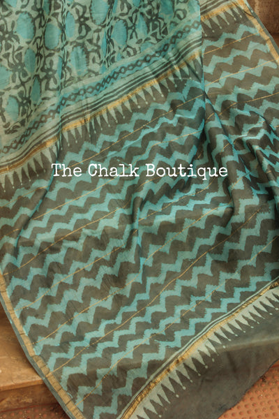 Powder Blue Hand Block printed Chanderi Saree. TCB-CH5-RB5