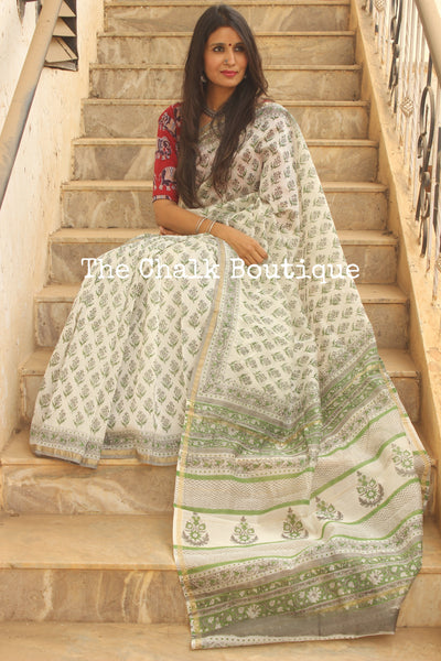 | Parijat | Summer White Hand Block printed Chanderi Saree. TCB-CH7-RB5