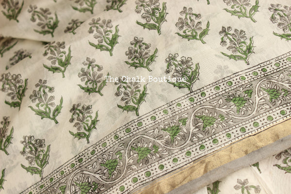 | Parijat |  White Hand Block printed Chanderi Saree.
