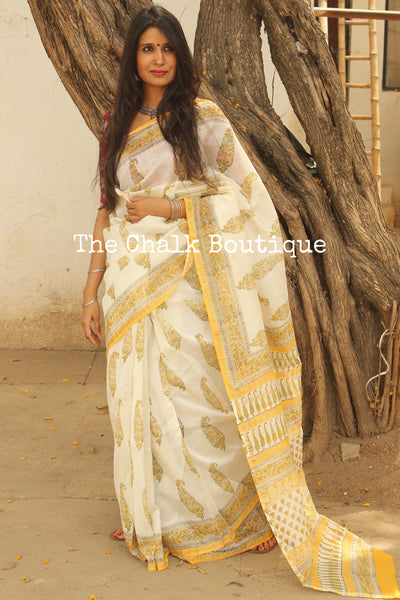 | Summer Love | White and Yellow Hand Block printed Chanderi Saree. TCB-CH8-RB5