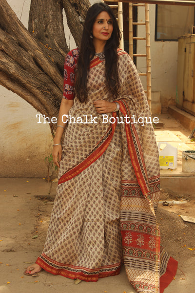 Flower Booti Hand Block printed Chanderi Saree. TCB-CH9-RB5