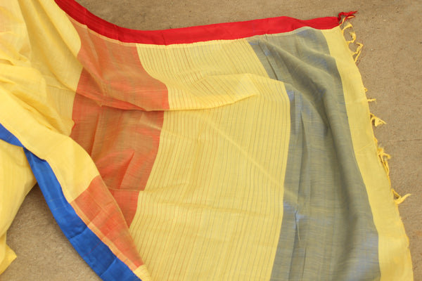 Yellow Handwoven  Kuppadam Saree With Ganga Jamuna Silk Border CH-KP-2