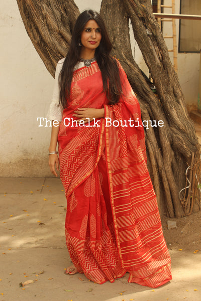 Orangish- Pink Hand Block printed Chanderi Saree. TCB-CH10-RB5