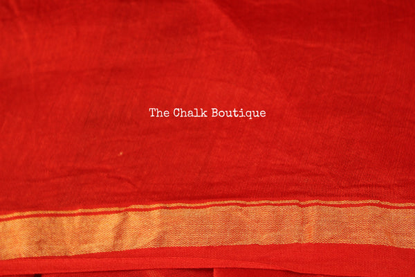 Orange ( with shades of pink) Hand Block printed Chanderi Saree.
