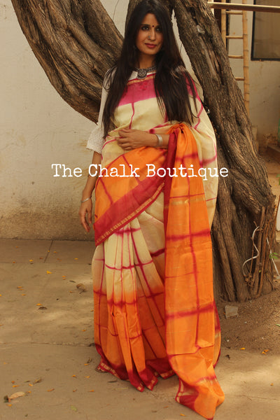 Orange and Pink Clamp Shibori Chanderi Saree. TCB-CH11-RB5