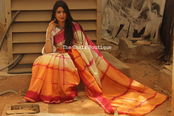 Orange and Pink Clamp Shibori Chanderi Saree.