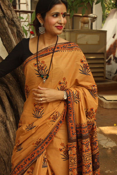 Sandalwood Hand Block Print Bagru Cotton Saree. TCB-KT-1-The Chalk Boutique