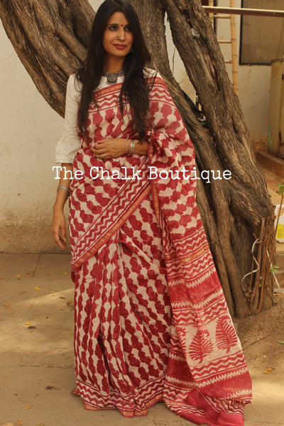 Pink Hand Block printed Chanderi Saree.