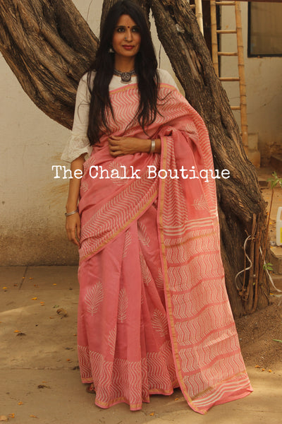 Baby Pink Hand Block printed Chanderi Saree. TCB-CH13-RB5