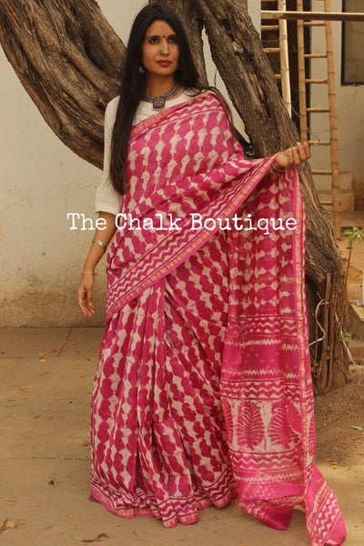 Bright Pink Hand Block printed Chanderi Saree.