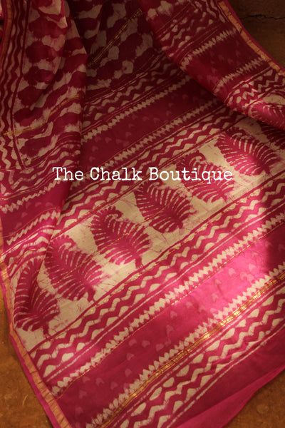 Deep Pink Hand Block printed Chanderi Saree.