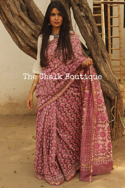 Pink and Purple Hand Block printed Chanderi Saree. TCB-CH15-RB5