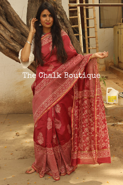 Deep Pink Big Border Hand Block printed Chanderi Saree.