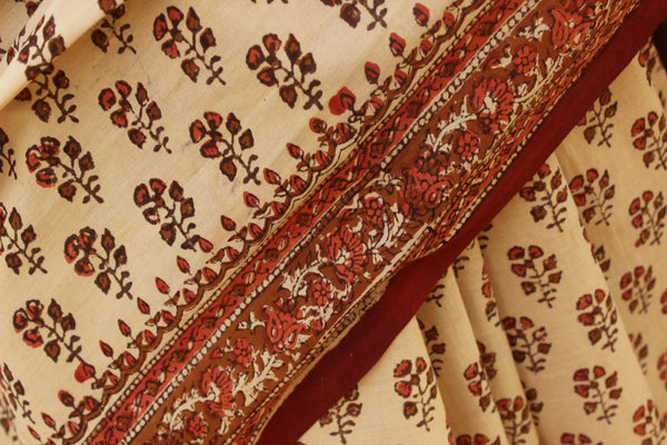 Hand Block Print Bagru Cotton Saree.  TCB-KT-10