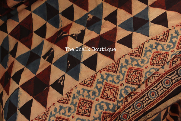 Indigo and Black Cotton Silk hand block printed vegetable dyed Ajrakh saree. KCH-CON4-CX