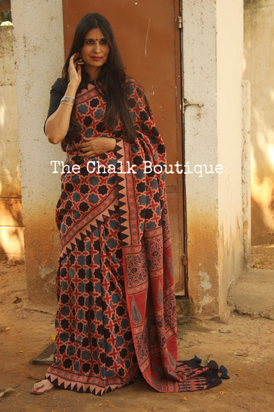 Madder Cotton Silk hand block printed vegetable dyed Ajrakh saree.