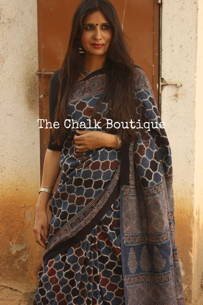 Indigo Cotton Silk hand block printed vegetable dyed Ajrakh saree. KCH-CON6-CX
