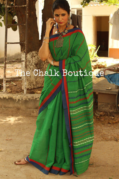 Green 'handloom mark' handwoven begumpuri saree. TCB-AM1-BG