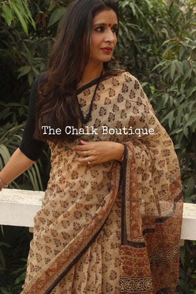 Beige Bagru Hand Block Print Kota Doria Saree TCB-KT-KO-5-The Chalk Boutique